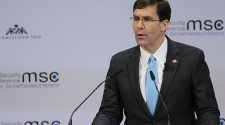 U.S Secretary of Defense Mark Esper makes a speech during the 56th Munich Security Conference at Bayerischer Hof Hotel in Munich, Germany today