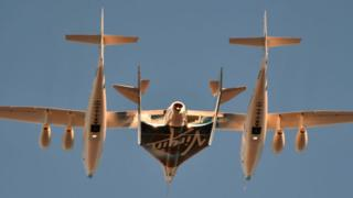 Virgin Galactic's SpaceshipTwo takes off for a suborbital test flight