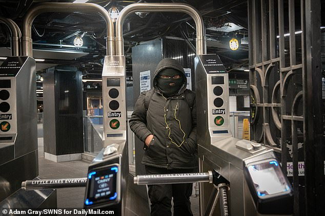 One anxious New Yorker wasn't taking any chances on Saturday as he made his way through a subway station in Midtown Manhattan