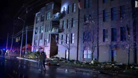 Windows were blown out of a building following a tornado in Nashville.