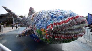 Whale shark made of plastic bottles in Rizhao Ocean Park in Rizhao, China
