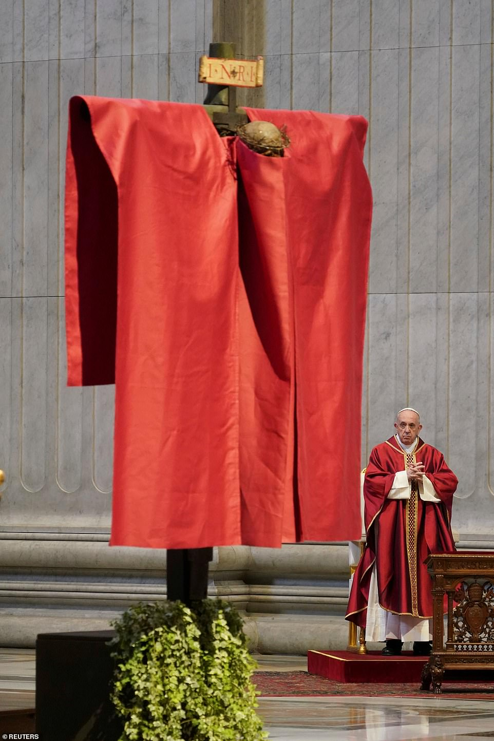 The head of the Catholic Church and sovereign of the Vatican City State led the Good Friday Passion of the Lord with no public participation as millions of Italians stay at home over the weekend