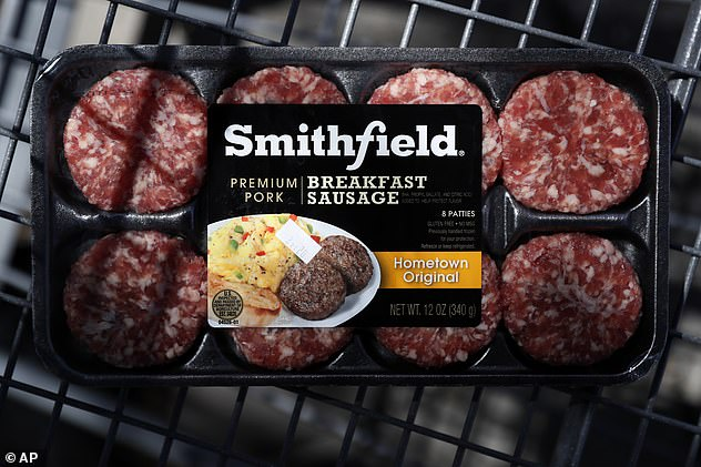 A package of Smithfield Foods breakfast sausage is seen in a file photo. The company's Sioux Falls plant processes five percent of the American pork supply