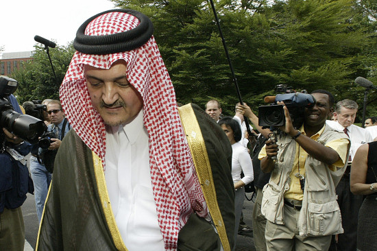 Saudi Arabian Foreign Minister Prince Saud al-Faisal walks away after speaking with reporters at the White House on July 29, 2003, following his meeting with U.S. President George W. Bush. The president said he could not grant the Saudi request to declassify sections of a congressional report into the September 11 attacks.