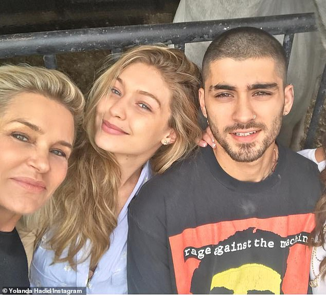 Grandmother-to-be:In her interview with RTL Boulevard, Yolanda admitted that she is 'still shocked' by the news, but that the Hadid family is 'so excited' to welcome the couple's little one; Yolanda (left) pictured with Gigi and Zayn