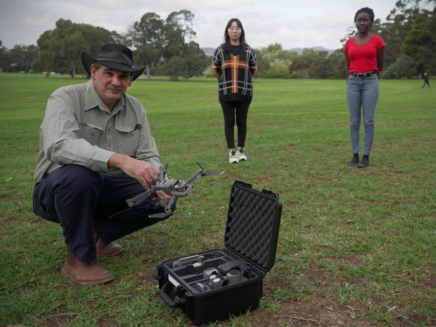 Javaan Chahl with his drone and some test patients