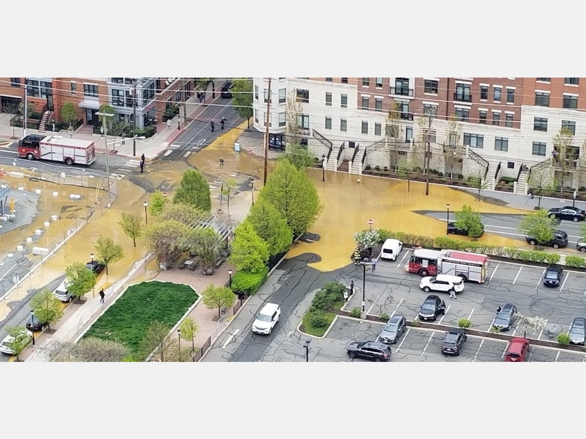 """A water main break flooded streets in northwestern Hoboken, which was already under a """"boil water"""" advisory due to a break in Jersey City the day before."""