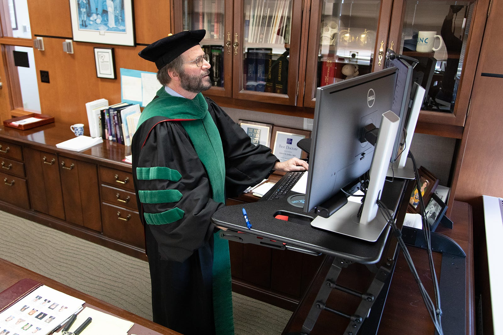 University of Wisconsin School of Medicine and Public Health Dean Robert Golden participates in the School's first virtual graduation ceremony held during the 2020 COVID-19 pandemic.