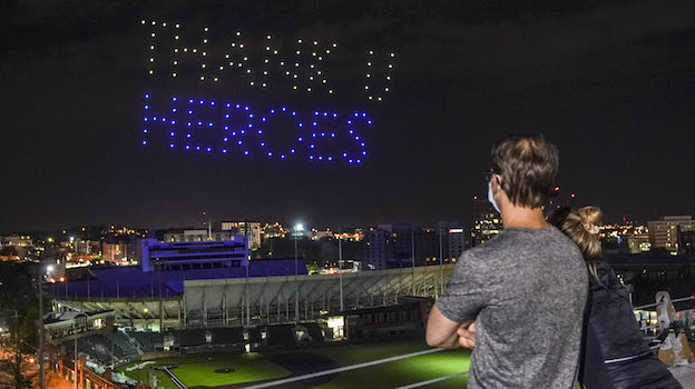 Thank you heroes drone light display