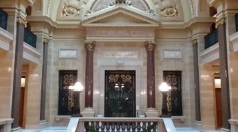 Wisconsin state Supreme Court chambers in the state Capitol in Madison. File photo/WKOW.