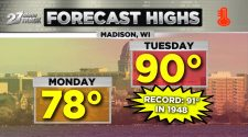 Near-record breaking heat by Tuesday afternoon, strong storms at night