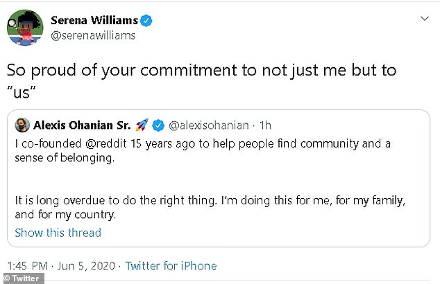 Williams shared the post on her own social media accounts saying she is 'so proud of your commitment to not just me but to ¿us¿'