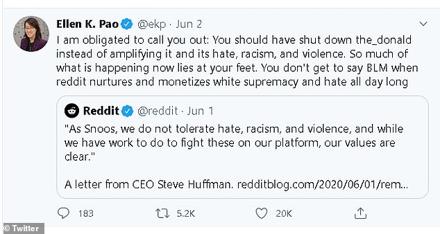 The shock news comes just days after Reddit's former CEO Ellen Pao slammed the company for 'amplifying' hate and racism