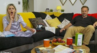 Confused: Celebrity Gogglebox fans were furious as the stars seemingly broke social distancing as they mingled with other households (Ashley Roberts and Jamie Theakston)