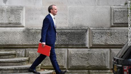 Britain's Foreign Secretary Dominic Raab leaves the Foreign and Commonwealth Office (FCO) in central London on July 1, 2020.