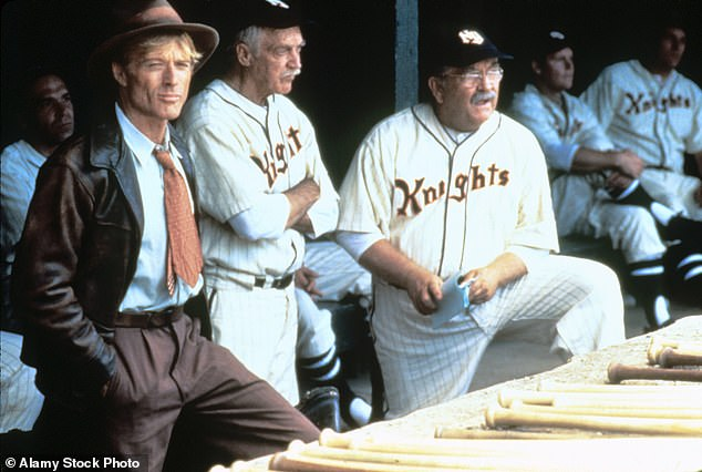 Brimley is seen far right alongside Richard Farnsworth (center) and Robert Redford in the 1984 baseball classic The Natural