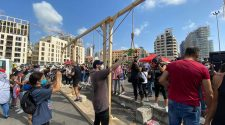 Demonstrators erect mock gallows in Beirut as thousands join 'judgment day' protests