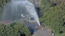 Large Water Main Break In East Fort Worth Gushes 100+ Feet Into The Air – CBS Dallas / Fort Worth