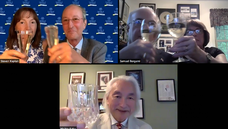 President and Anemone Kaplan, Sam and Lois Bergami, and Michio Kaku toasting the opening of the Bergami Center