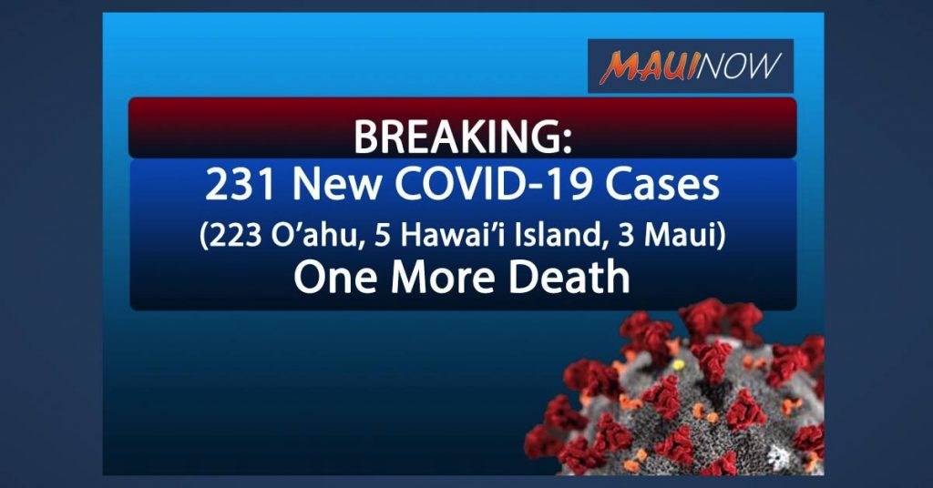 BREAKING: 231 New COVID-19 Cases in Hawai'i, One More Death | Maui Now