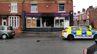 BREAKING: 'Two men in black on moped' seen before fire tore through Salford office - latest updates