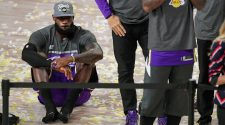 Los Angeles Lakers' LeBron James shrugs at making 10th NBA Finals
