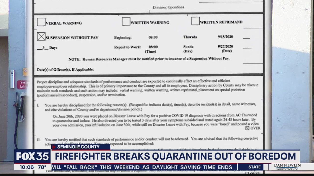Firefighter suspended for breaking COVID-19 quarantine