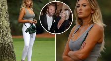 Dustin Johnson's fiancee Paulina Gretzky stuns in low-cut top while watching golf star win at the Masters in Augusta