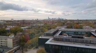 Looking north from 55th Street at Hyde Park and the South Side, with the Loop in the distance.