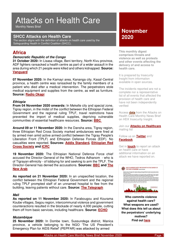 Attacks on Health Care Monthly News Brief - November 2020 - World