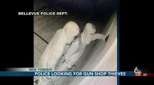 Bellevue police seeking suspects in overnight gun shop break-ins