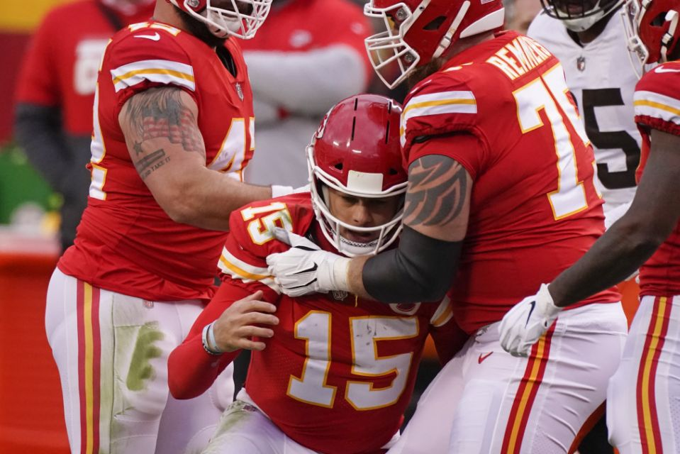 Patrick Mahomes missed most of the second half agains the Browns, underscoring the precarious nature of injury luck the Chiefs will need to repeat as Super Bowl champions. (AP Photo/Charlie Riedel)