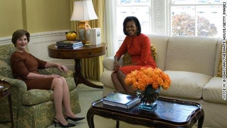 First Lady Laura Bush (L) meets with Michelle Obama in the private residence of the White House November 10, 2008 in Washington, DC.