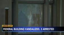 Police investigation: 3 people arrested for allegedly breaking windows of a federal building in Center City