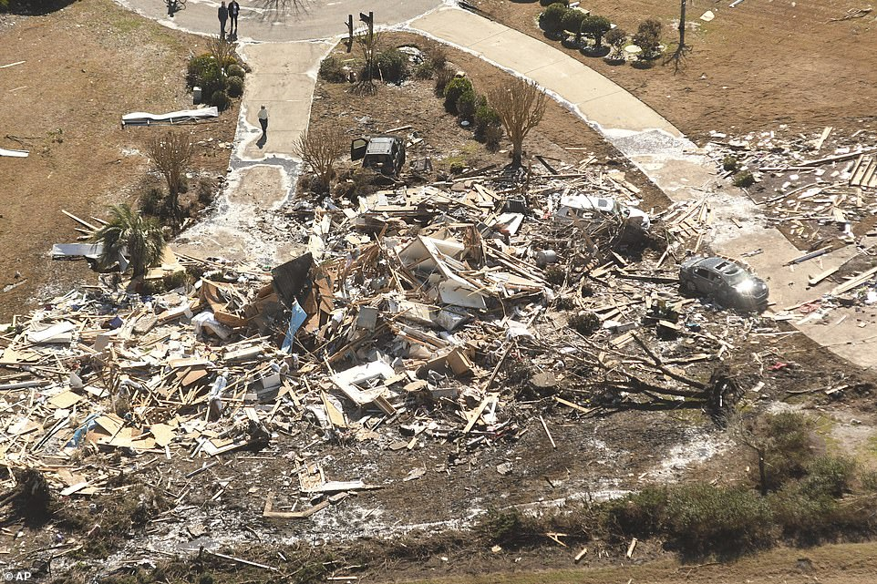 Some of the North Carolina homes were destroyed all the way down to their foundations by the EF-3 rated tornado