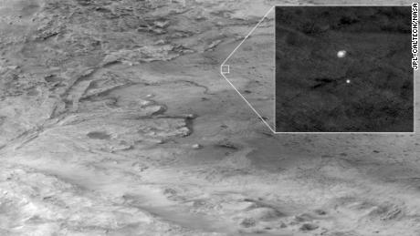 HiRISE captured this image of Perseverance on its way to the landing site.