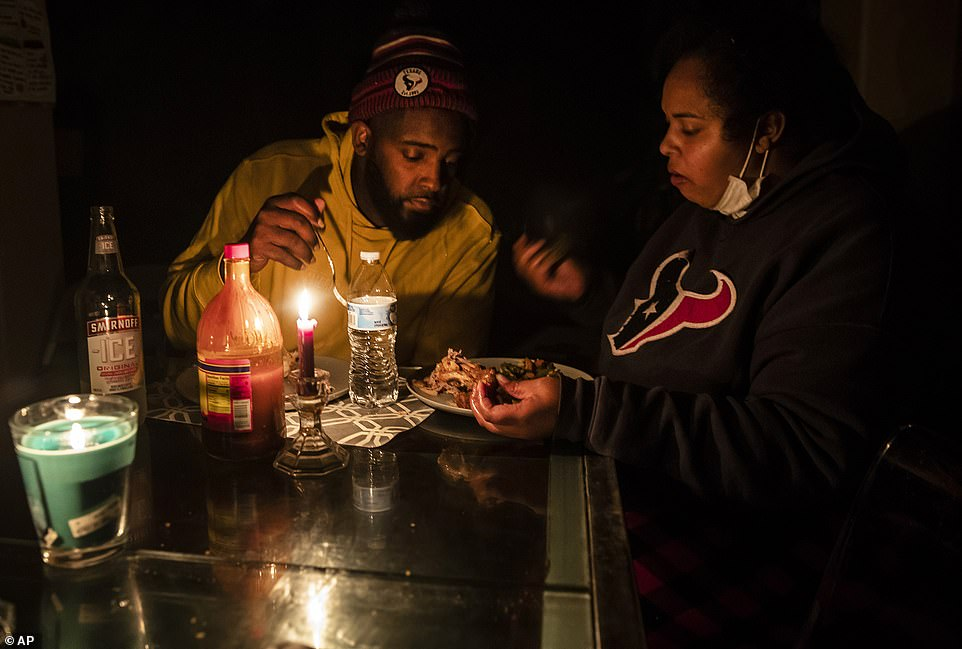 Hutto, Texas: Howard and Nena Mamu eat dinner at their home in the Glenwood neighborhood Tuesday. Anger over Texas