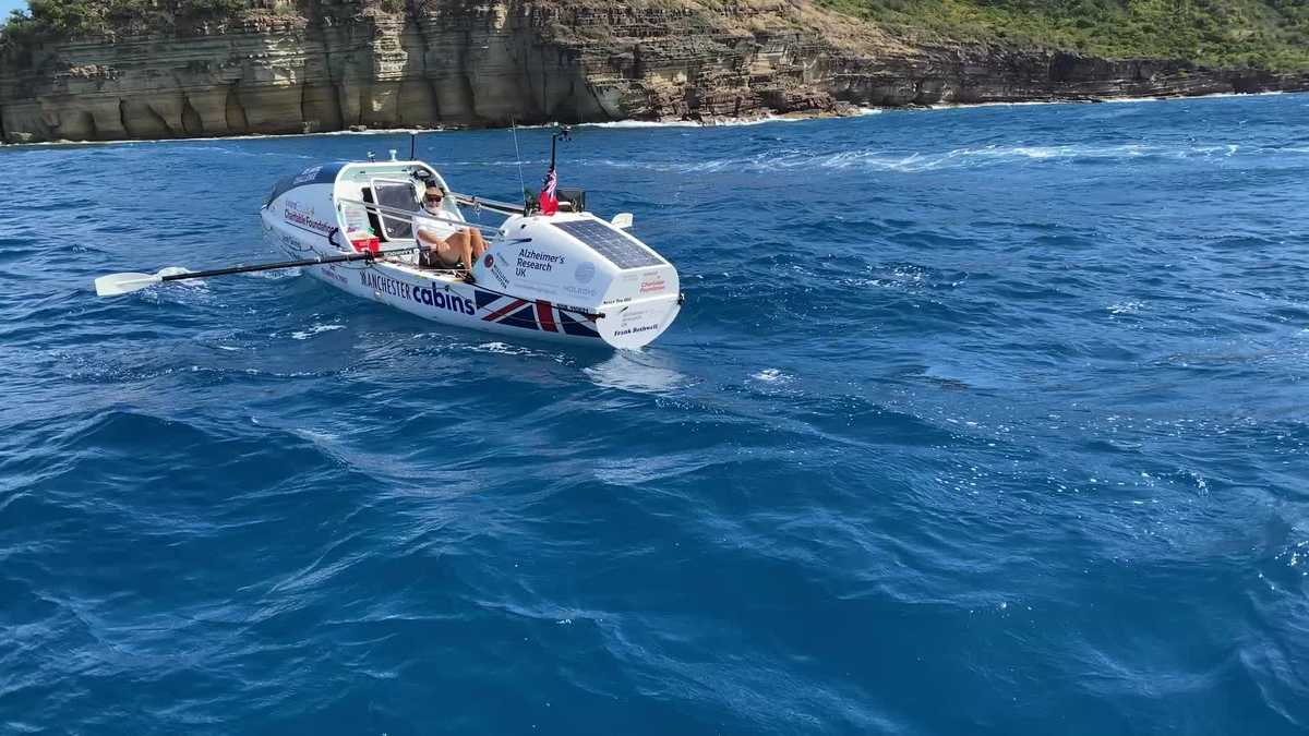 Record-breaking grandfather who rowed Atlantic encourages others to 'find a challenge'
