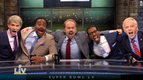 """""""SNL"""" opened with the Super Bowl pre-game show on Saturday."""