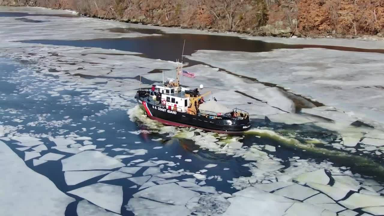 U.S. Coast Guard's ice breaking operation underway on the CT River