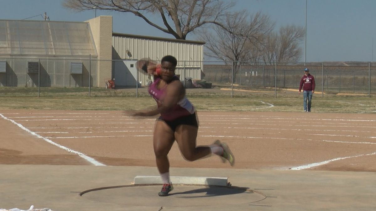 West Texas A&M senior Zada Swoopes throws record breaking shot put