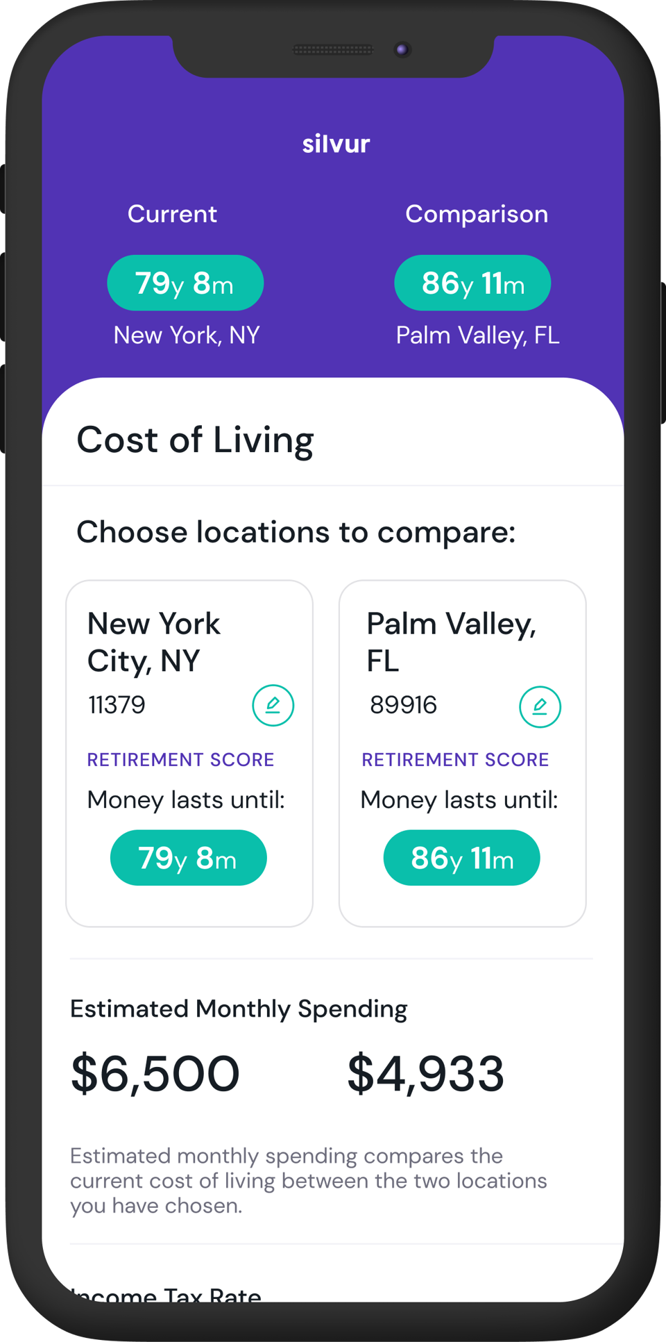 silvur app cost of living image