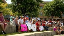 IU Health workers gather to protest COVID-19 vaccine mandate